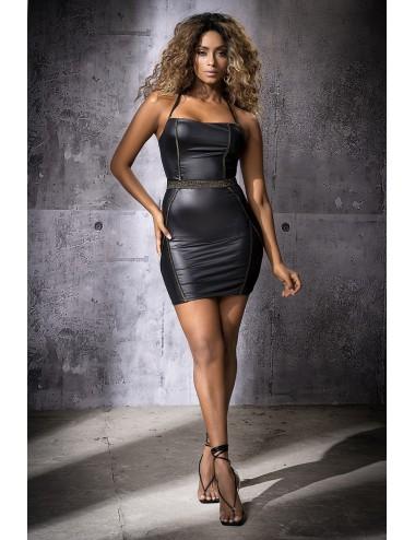 Lingerie - Robes et jupes sexy - Robe sexy noire simili cuir, effet mouillé - MAL4554BLK - Mapalé