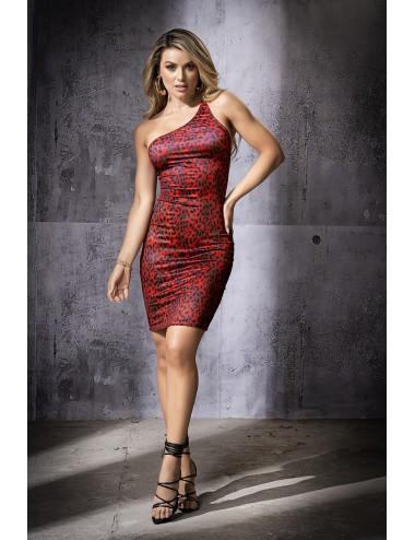 Lingerie - Robes et jupes sexy - robe asymétrique avec imprimé léopard - MAL4556PRI - Mapalé